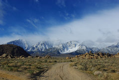 Sand road in Alabama Hills Stock Image