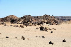 Sand and Rocks Desert. On Teide Volcano, in Canary Islands, Spain Stock Photos