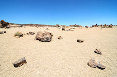 Sand and Rocks Desert. On Teide Volcano, in Canary Islands, Spain Stock Photo