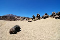 Sand and Rocks Desert. On Teide Volcano, in Canary Islands, Spain Royalty Free Stock Images