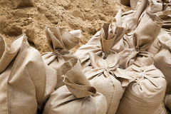 Sand sack as barrier for high flood Stock Image