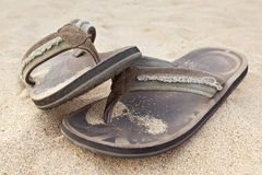 Sand on sandals Royalty Free Stock Image