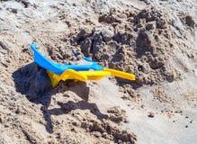 Sand Sandbeach Kids Beach Toys. Toys for Kids Boys and Girls, sand kit on beach summertime stock photography