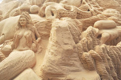 Sand sculpting art Stock Photos