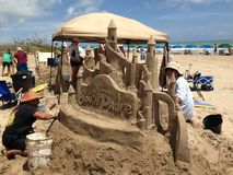 Sand sculptor at work Royalty Free Stock Photos