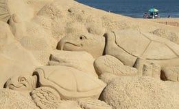 Sand Sculpture. On beach at Virginia Beach, Virginia during the annual Neptune Festival Stock Photos