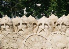 Sand sculpture 33 warriors Stock Images