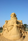 Sand sculpture of Alexander Graham Bell Stock Photo