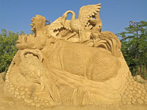 Sand sculpture. Art handmade composition of sandy material in sunlight Royalty Free Stock Photos
