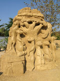 Sand sculpture. Art handmade composition of sandy material in sunlight Stock Images