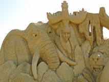 Sand sculpture. Art handmade composition of sandy material in sunlight Royalty Free Stock Photo