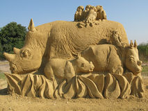 Sand sculpture. Art handmade composition of sandy material in sunlight Stock Image