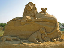 Sand sculpture. Art handmade composition of sandy material in sunlight Royalty Free Stock Photography