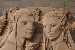 Sand sculpture based on Avatar movie Royalty Free Stock Photo