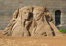 Sand sculpture based on Avatar movie Royalty Free Stock Photos