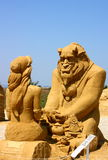 Sand sculpture of The Beauty and the Beast movie Royalty Free Stock Photos