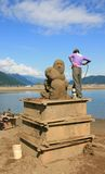 Sand Sculpture Being Sprayed Stock Photos