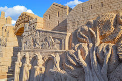 Sand sculpture on Bible theme Royalty Free Stock Image