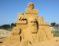 Sand sculpture of Charles Darwin Stock Images