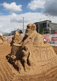 Sand sculpture Charles Darwin at festival Stock Photos