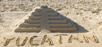 Sand sculpture of Chichen Itza Royalty Free Stock Image