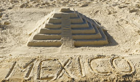 Sand sculpture of Chichen Itza, Mexico. Sand sculpture from El Castillo, the big pyramid from the Maya archaeological site of Chichen Itza in Yucatan, Mexico Royalty Free Stock Image