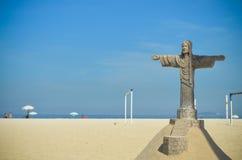 Sand Sculpture of Christ the Redeemer at Copacabana Beach, Rio de Janeiro, Brazil Royalty Free Stock Photography