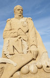 Sand sculpture of emperor napoleon against blue sky Stock Photography