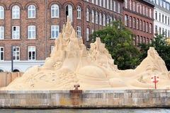 Sand sculpture festival in Copenhagen. Sand sculpture exhibition on a bank of Kobenhavn, Copenhagen, Denmark Stock Photography