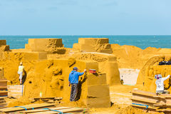 Sand Sculpture Festival preparings Royalty Free Stock Image