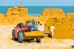 Sand Sculpture Festival preparings Royalty Free Stock Photo