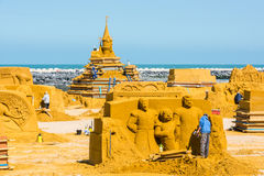 Sand Sculpture Festival preparings Royalty Free Stock Photography