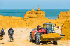 Sand Sculpture Festival preparings Royalty Free Stock Images
