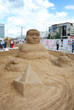 Sand sculpture Funny man at festival White Night Royalty Free Stock Image