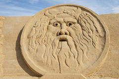 Sand sculpture of greek god zeus Royalty Free Stock Photography