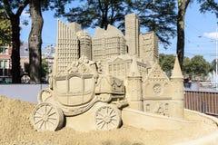 Sand Sculpture of The Hague city stock photos