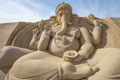 Sand sculpture of Hindu god Ganesh Stock Photo