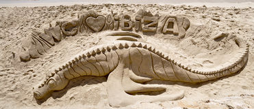Sand sculpture on Ibiza beach Stock Photo
