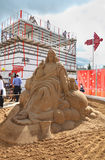 Sand sculpture Jesus at festival White Nights Royalty Free Stock Photography
