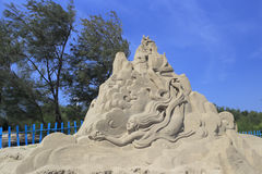 Sand sculpture of jingwei Royalty Free Stock Image