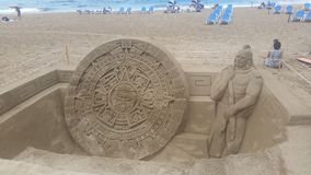 Sand sculpture in Las Canteras beach, Las Palmas royalty free stock photography