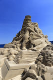 Sand sculpture of leaning tower of pisa Stock Photo