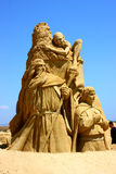 Sand sculpture of Lord of the Rings movie. Sand sculpture of Lord of the Rings move with Frodo ,Gollum and Gandalf the magician made in country Bulgaria,city of Royalty Free Stock Photography