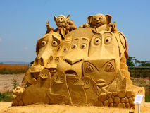 Sand sculpture of Madagascar movie Stock Images