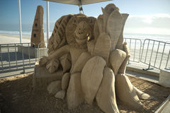 A sand sculpture of the movie Madagascar Stock Image