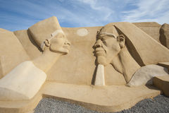 Sand sculpture of ramses II and nefertari Stock Photography