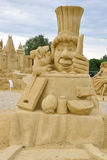Sand sculpture of Ratatouille movie. Sand sculpture of Ratatouille cartoon movie during sand  sculptures festival of famous movie characters Royalty Free Stock Photo