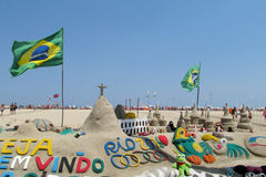 Sand sculpture in Rio de Janeiro with Brazilian flag Stock Photo