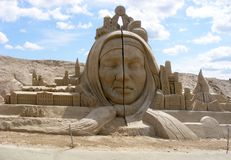 Sand sculpture. Compositions from sand against the blue sky. Abstract composition of antiquity and modernity. Jelgava Latvia. Mastery is the art of man stock image