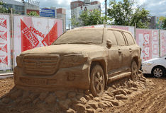 Sand sculpture Toyota car at festival Stock Photos